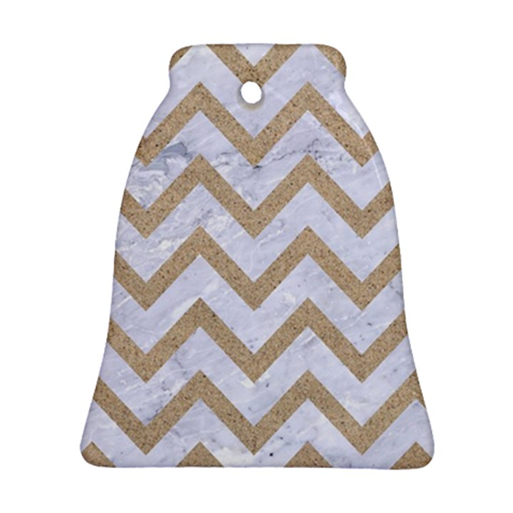 CHEVRON9 WHITE MARBLE & SAND (R) Bell Ornament (Two Sides)