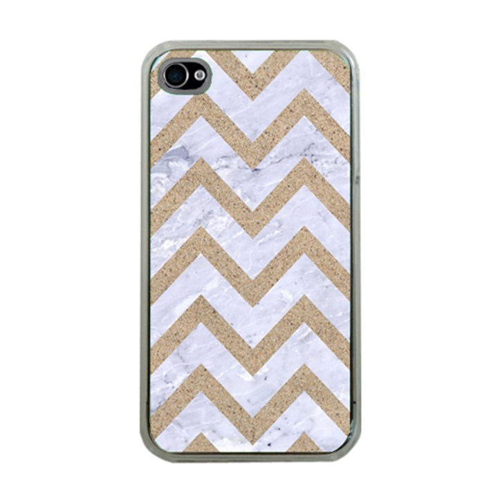 CHEVRON9 WHITE MARBLE & SAND (R) Apple iPhone 4 Case (Clear)