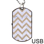 CHEVRON9 WHITE MARBLE & SAND (R) Dog Tag USB Flash (One Side) Front