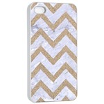 CHEVRON9 WHITE MARBLE & SAND (R) Apple iPhone 4/4s Seamless Case (White) Front