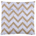 CHEVRON9 WHITE MARBLE & SAND (R) Large Cushion Case (One Side) Front