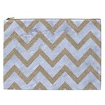 CHEVRON9 WHITE MARBLE & SAND (R) Cosmetic Bag (XXL)  Front
