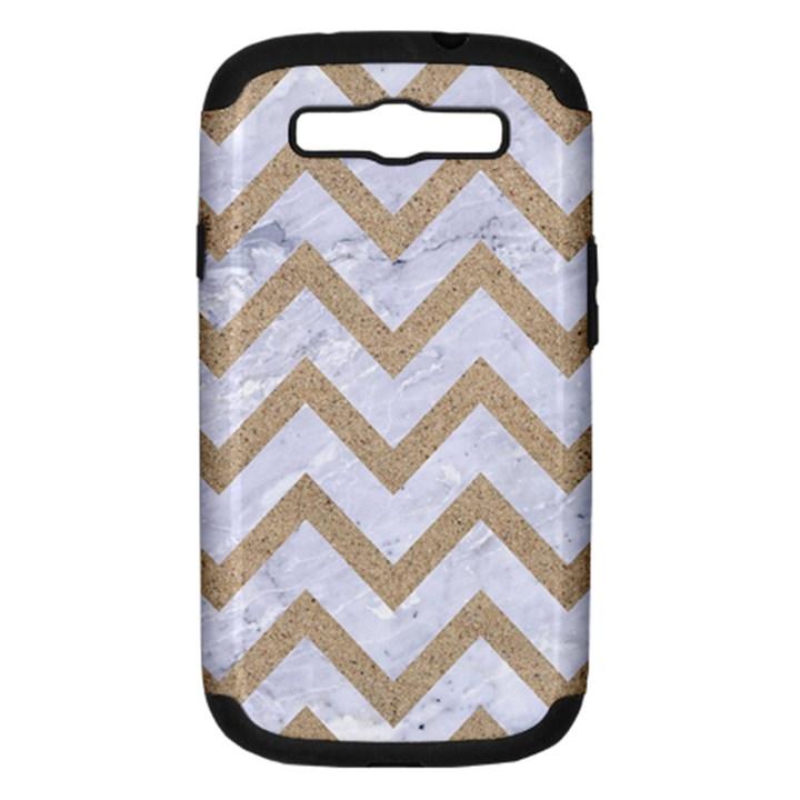 CHEVRON9 WHITE MARBLE & SAND (R) Samsung Galaxy S III Hardshell Case (PC+Silicone)