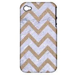 Chevron9 White Marble & Sand (r) Apple Iphone 4/4s Hardshell Case (pc+silicone)