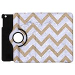 CHEVRON9 WHITE MARBLE & SAND (R) Apple iPad Mini Flip 360 Case Front