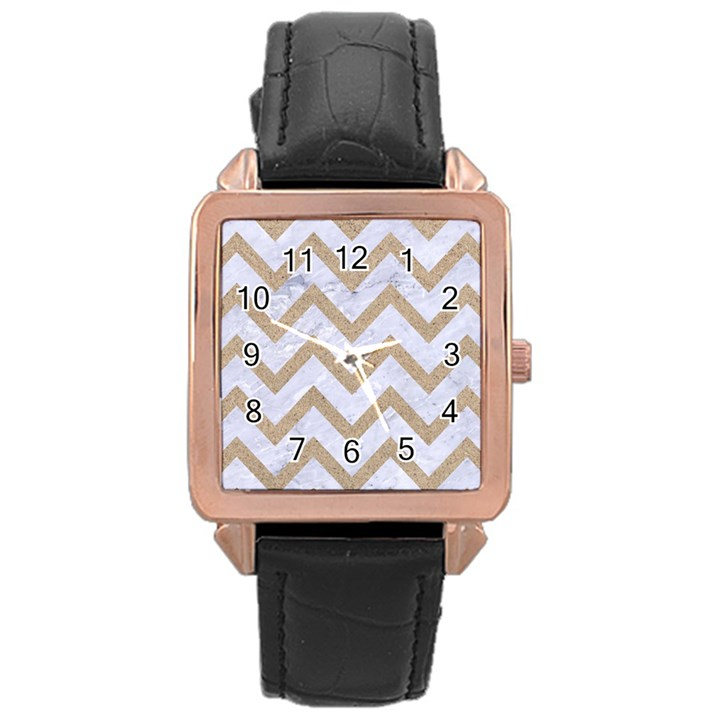 CHEVRON9 WHITE MARBLE & SAND (R) Rose Gold Leather Watch