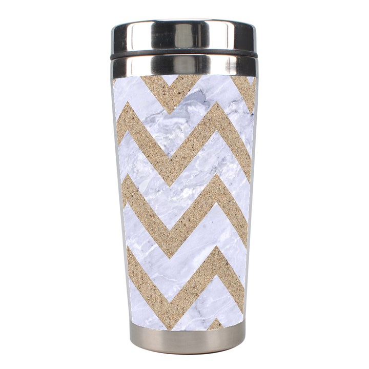 CHEVRON9 WHITE MARBLE & SAND (R) Stainless Steel Travel Tumblers
