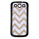 CHEVRON9 WHITE MARBLE & SAND (R) Samsung Galaxy S3 Back Case (Black) Front