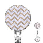 CHEVRON9 WHITE MARBLE & SAND (R) Stainless Steel Nurses Watch Front