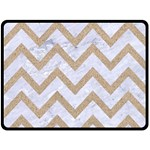 CHEVRON9 WHITE MARBLE & SAND (R) Double Sided Fleece Blanket (Large)  80 x60 Blanket Front