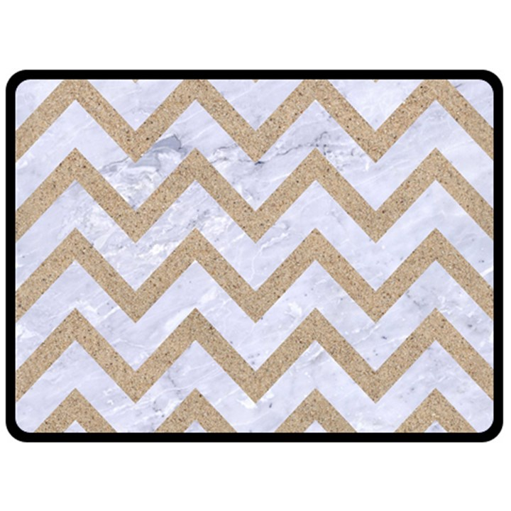 CHEVRON9 WHITE MARBLE & SAND (R) Double Sided Fleece Blanket (Large)