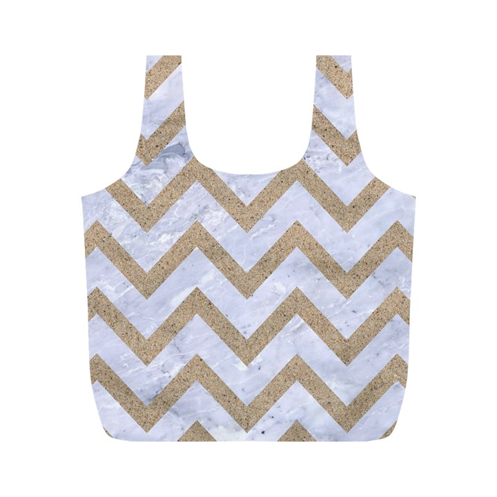 CHEVRON9 WHITE MARBLE & SAND (R) Full Print Recycle Bags (M)