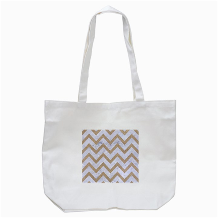 CHEVRON9 WHITE MARBLE & SAND (R) Tote Bag (White)