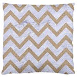 CHEVRON9 WHITE MARBLE & SAND (R) Large Flano Cushion Case (One Side) Front