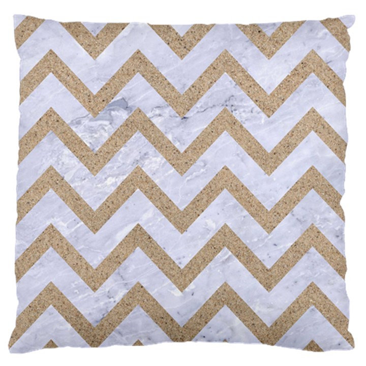 CHEVRON9 WHITE MARBLE & SAND (R) Large Flano Cushion Case (One Side)