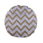 CHEVRON9 WHITE MARBLE & SAND (R) Standard 15  Premium Flano Round Cushions Back