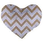 CHEVRON9 WHITE MARBLE & SAND (R) Large 19  Premium Flano Heart Shape Cushions Front