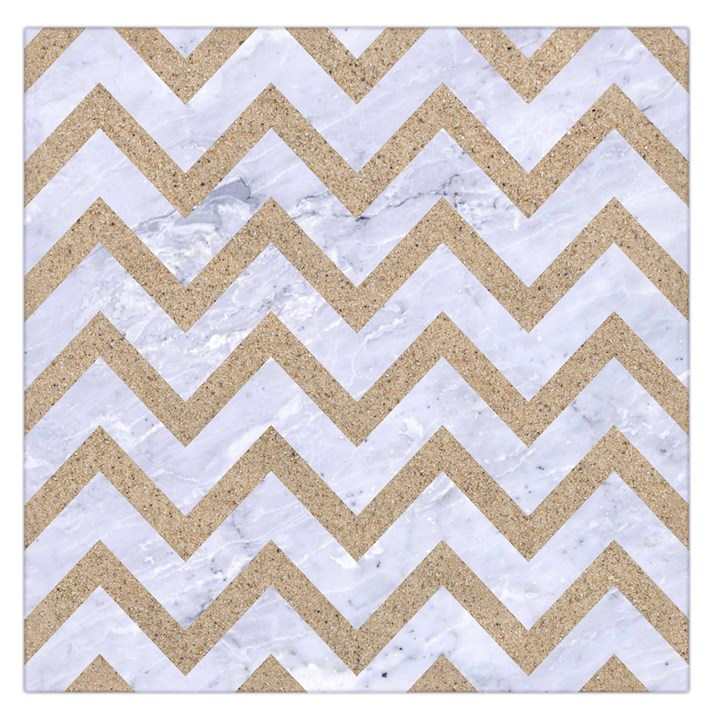 CHEVRON9 WHITE MARBLE & SAND (R) Large Satin Scarf (Square)