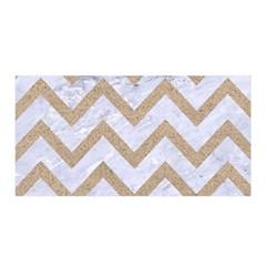 Chevron9 White Marble & Sand (r) Satin Wrap