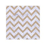 CHEVRON9 WHITE MARBLE & SAND (R) Small Satin Scarf (Square) Front