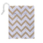 CHEVRON9 WHITE MARBLE & SAND (R) Drawstring Pouches (Extra Large) Back