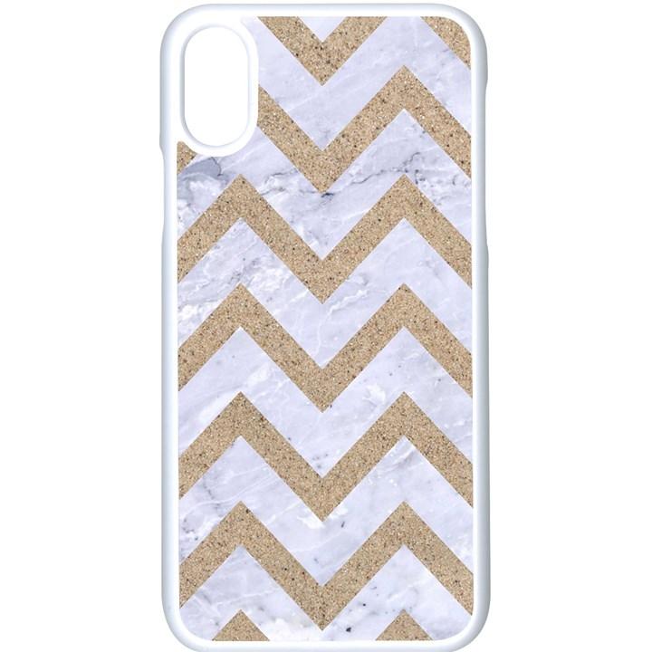 CHEVRON9 WHITE MARBLE & SAND (R) Apple iPhone X Seamless Case (White)