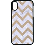 CHEVRON9 WHITE MARBLE & SAND (R) Apple iPhone X Seamless Case (Black) Front