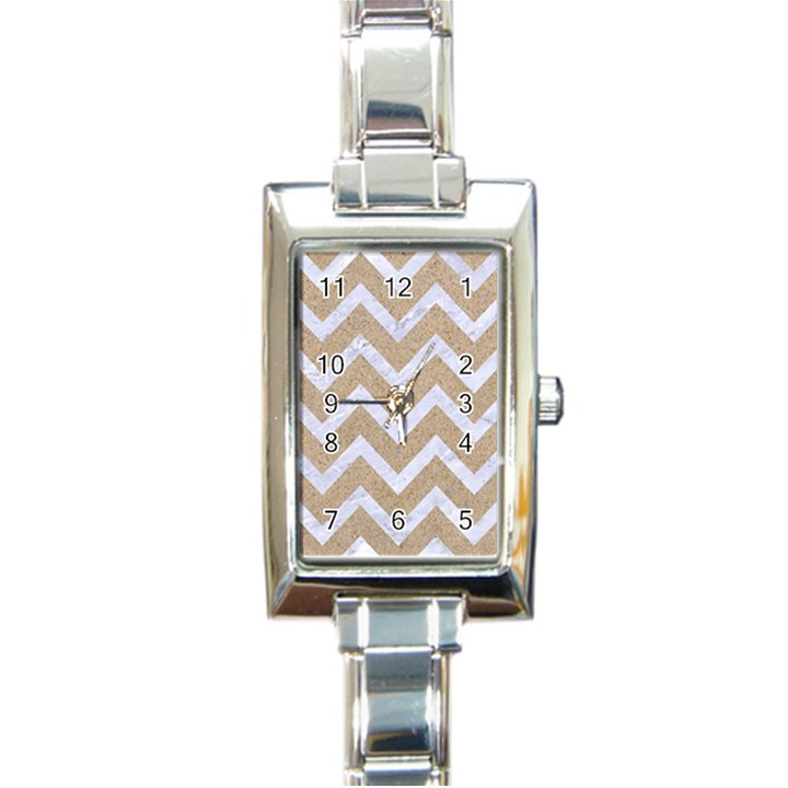 CHEVRON9 WHITE MARBLE & SAND Rectangle Italian Charm Watch