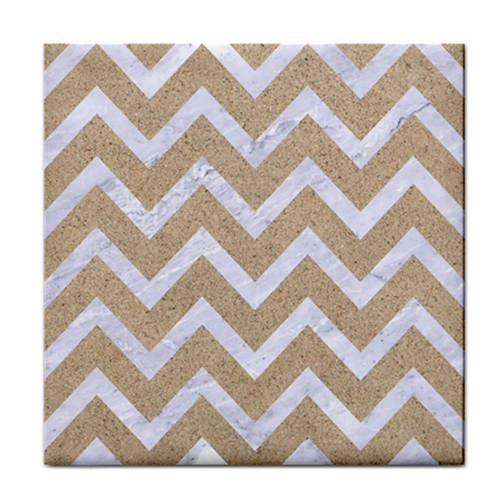 CHEVRON9 WHITE MARBLE & SAND Tile Coasters