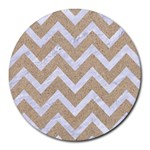 CHEVRON9 WHITE MARBLE & SAND Round Mousepads Front