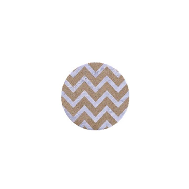 CHEVRON9 WHITE MARBLE & SAND 1  Mini Buttons