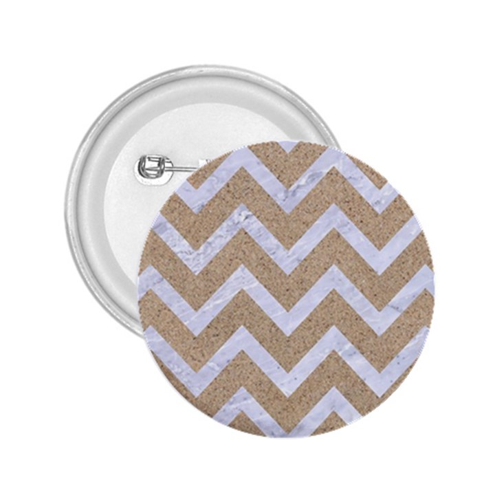CHEVRON9 WHITE MARBLE & SAND 2.25  Buttons