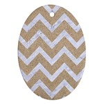 CHEVRON9 WHITE MARBLE & SAND Ornament (Oval) Front