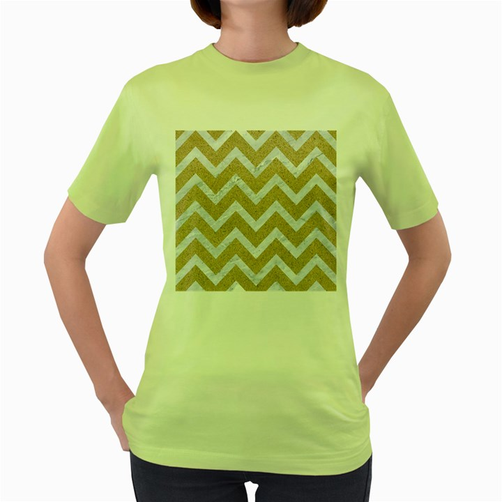 CHEVRON9 WHITE MARBLE & SAND Women s Green T-Shirt