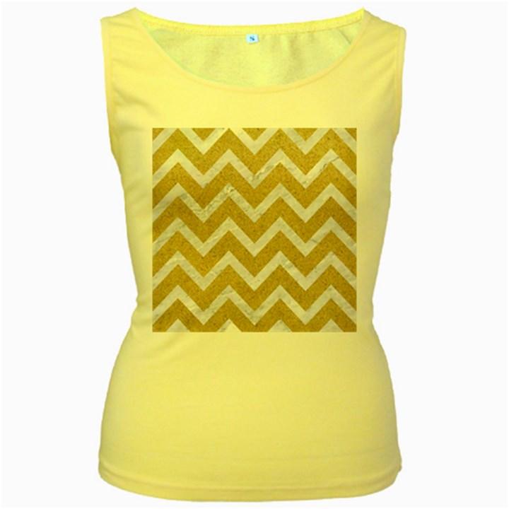 CHEVRON9 WHITE MARBLE & SAND Women s Yellow Tank Top