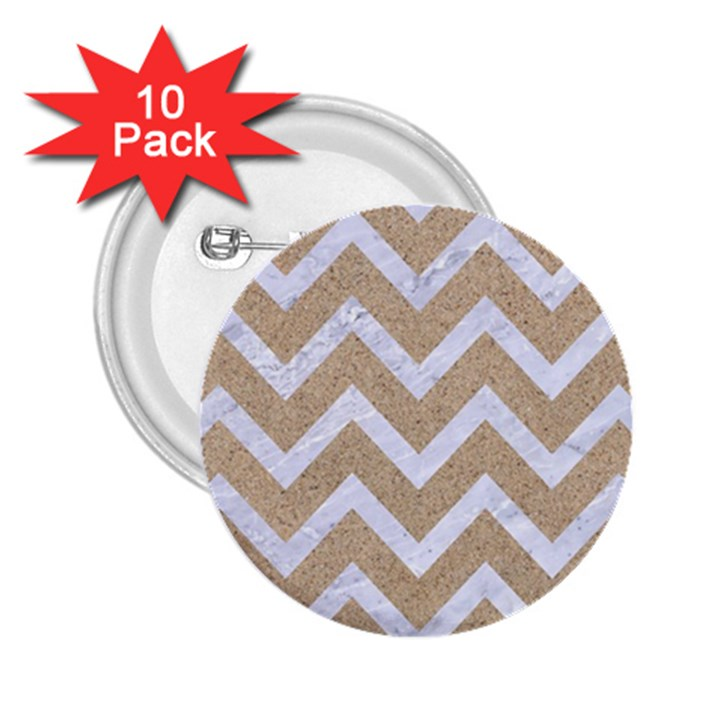 CHEVRON9 WHITE MARBLE & SAND 2.25  Buttons (10 pack)