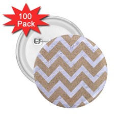 Chevron9 White Marble & Sand 2 25  Buttons (100 Pack)