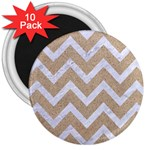 CHEVRON9 WHITE MARBLE & SAND 3  Magnets (10 pack)  Front