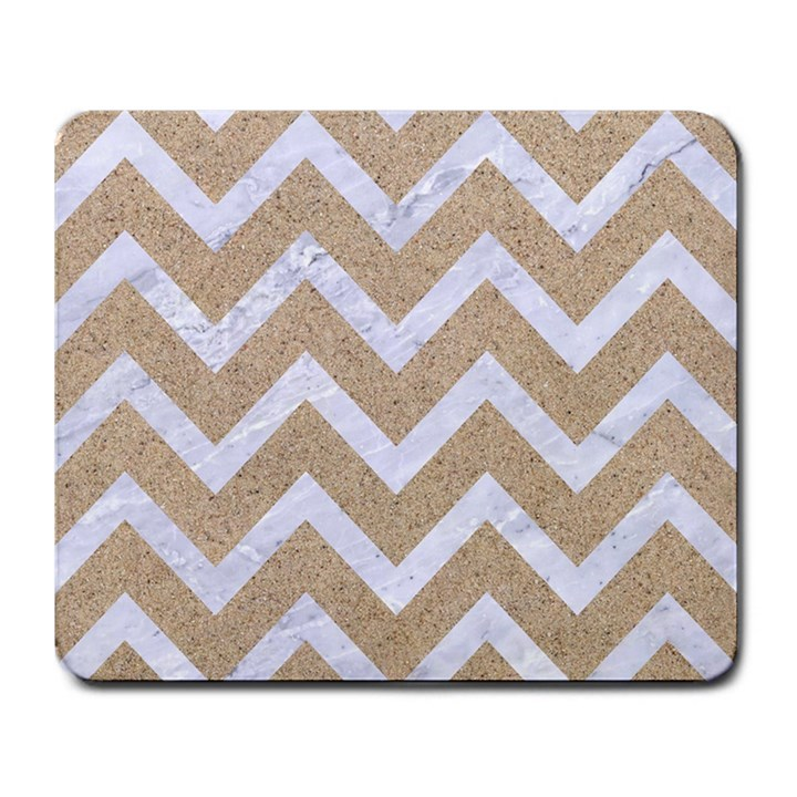 CHEVRON9 WHITE MARBLE & SAND Large Mousepads