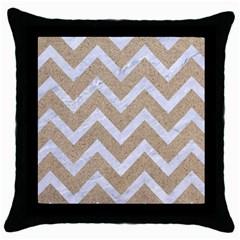 Chevron9 White Marble & Sand Throw Pillow Case (black)