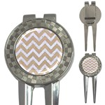 CHEVRON9 WHITE MARBLE & SAND 3-in-1 Golf Divots Front