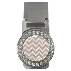 Chevron9 White Marble & Sand Money Clips (cz)