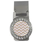 CHEVRON9 WHITE MARBLE & SAND Money Clips (CZ)  Front