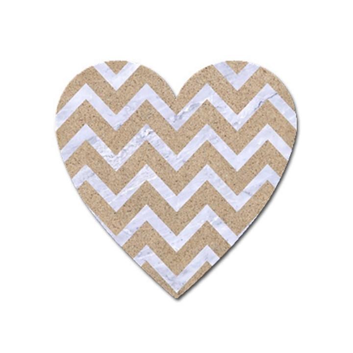 CHEVRON9 WHITE MARBLE & SAND Heart Magnet