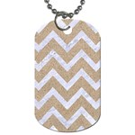 CHEVRON9 WHITE MARBLE & SAND Dog Tag (One Side) Front