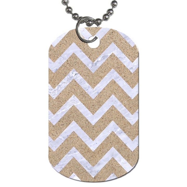 CHEVRON9 WHITE MARBLE & SAND Dog Tag (One Side)