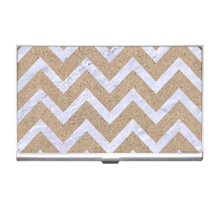 CHEVRON9 WHITE MARBLE & SAND Business Card Holders