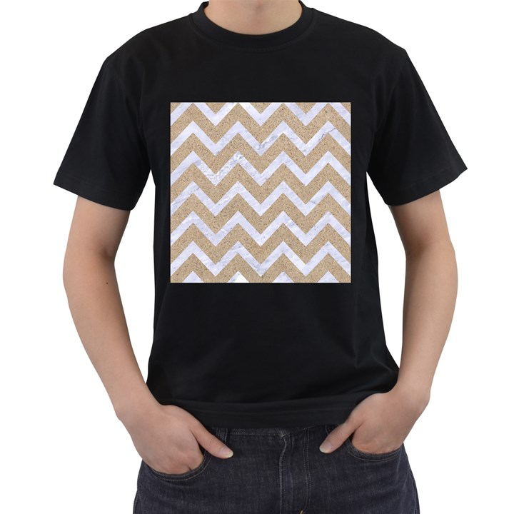 CHEVRON9 WHITE MARBLE & SAND Men s T-Shirt (Black) (Two Sided)