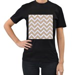 CHEVRON9 WHITE MARBLE & SAND Women s T-Shirt (Black) (Two Sided) Front