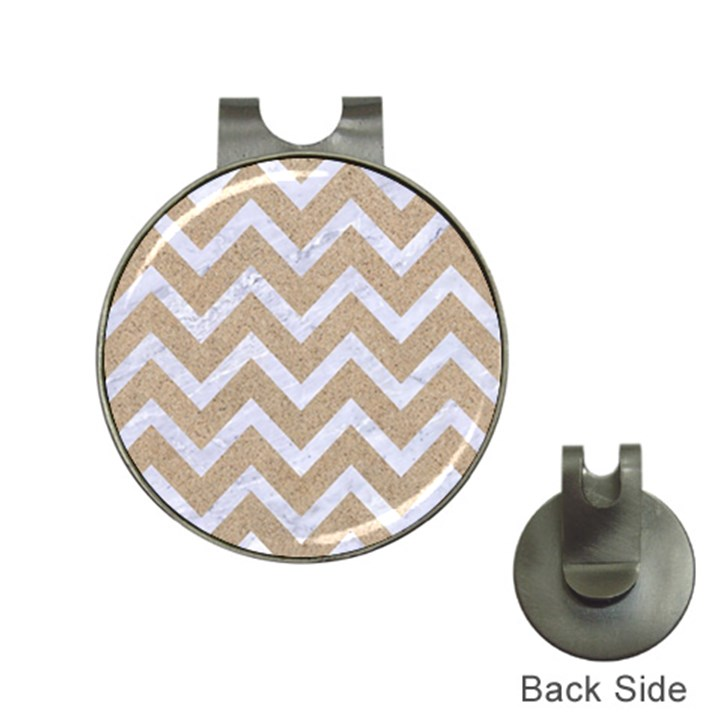 CHEVRON9 WHITE MARBLE & SAND Hat Clips with Golf Markers